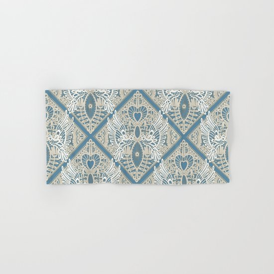 love bird lace blue Hand & Bath Towel