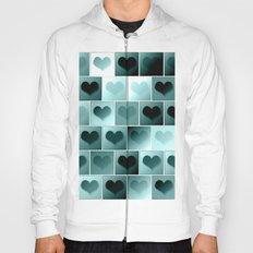 Monochrome hearts pattern Hoody