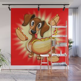 Dachshund Hot Dog Cute and Funny Character Wall Mural