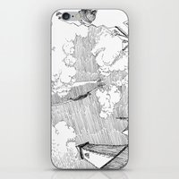 led zeppelin iPhone & iPod Skins featuring Zeppelin Overhead by Mr.Willow
