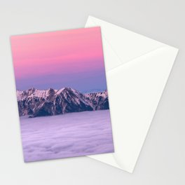 Mountains over the clouds Stationery Cards