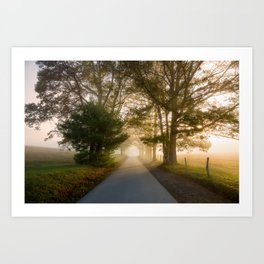 Daylight and Mist - Road with Warm Light in Great Smoky Mountains Art Print