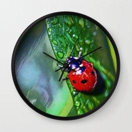 Ladybug Leaf | Painting  Wall Clock