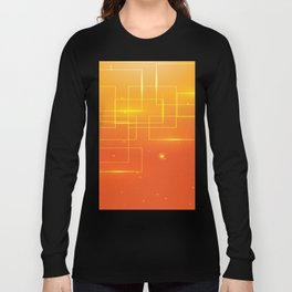 YELLOW SQUARES ON AN ORANGE BACKGROUND Abstract Art Long Sleeve T-shirt