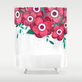 poster with bright flowers. Trendy Design Template. Shower Curtain