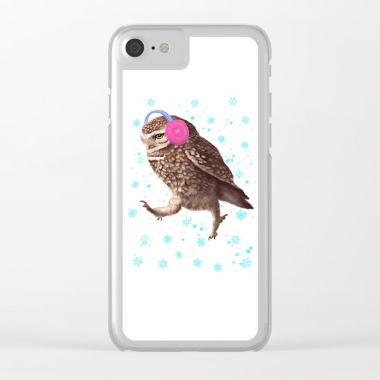 Owl with headphones Clear iPhone Case