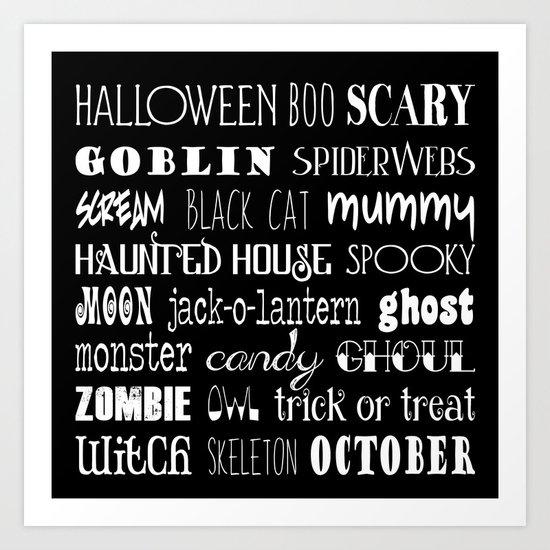 Halloween Typography Black Art Print