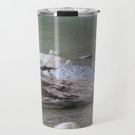 Log in River in Rain Travel Mug
