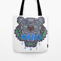 kenzo Tote Bags featuring Kenzo tiger with seamns blue by cvrcak