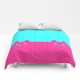 Meow Cat Pink Blue Comforters