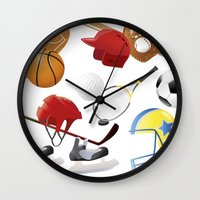 sports Wall Clocks featuring sports! by Dues Creatius