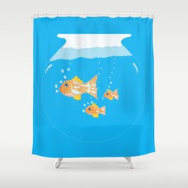 Three Goldfishes In a Water Bowl Shower Curtain