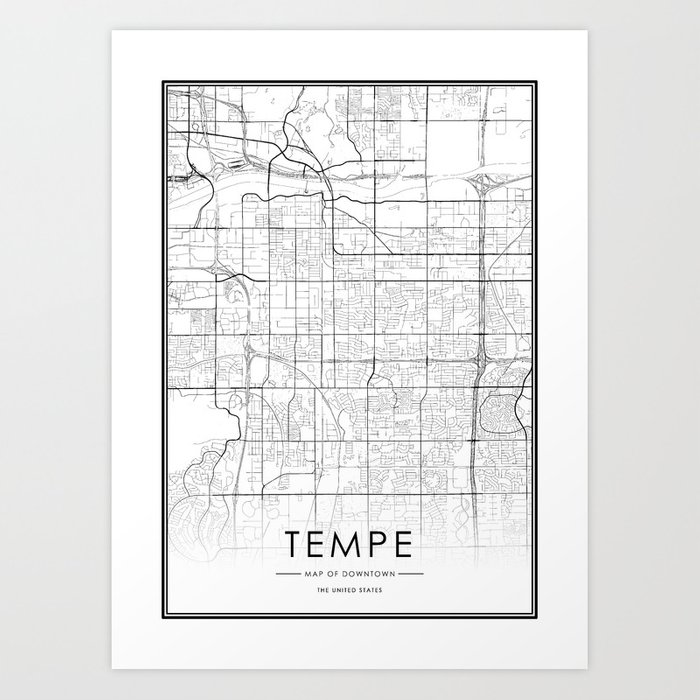 Tempe City Map United States White and Black Art Print by victorialyu