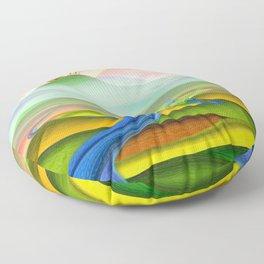 Fantasy valley naive artwork Floor Pillow