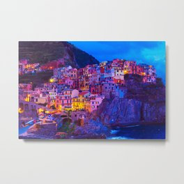 Manarola Cinque Terre Italy at Night Metal Print