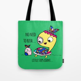 """Little Steps Count"" / Turtle and His Friend Tote Bag"