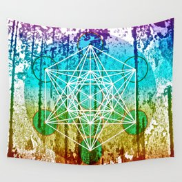 The Flower of Life & Metatron's Cube - The Rainbow Tribe Collection Wall Tapestry