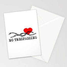 No Trespassing Black On White Vertical Stationery Cards