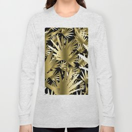 Modern color gold black tropical abstract leaves Long Sleeve T-shirt