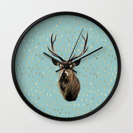 Highland Stag on turquoise and gold raindrop pattern Wall Clock