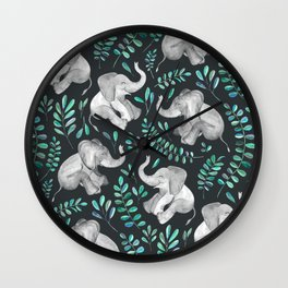 Laughing Baby Elephants – emerald and turquoise Wall Clock