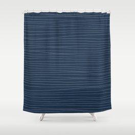 Horizontal White Stripes on Blue Shower Curtain