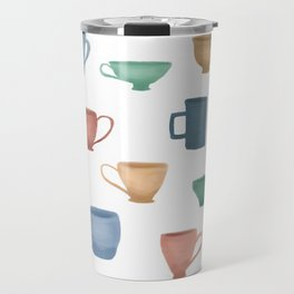 Colorful Tea Cups and Coffee Mugs Travel Mug