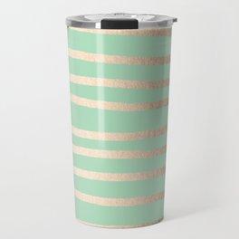 Stripes Metallic Gold Mint Green Travel Mug