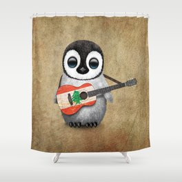 Baby Penguin Playing Lebanese Flag Acoustic Guitar Shower Curtain