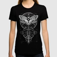 ALCHEMY MOTH Womens Fitted Tee LARGE Black