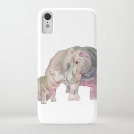Mom and Baby Hippo iPhone Case