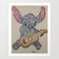 stitch Art Prints featuring Stitch by Julia