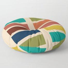 Nelson Blocks - Midcentury Modern Geometric in Mid Century Mod Mustard, Olive, Teal, Orange, Beige Floor Pillow