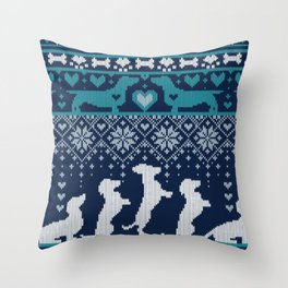 Fair Isle Knitting Doxie Love // navy blue background white and teal dachshunds dogs bones paws and hearts Throw Pillow