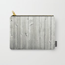 Black & White Wood Texture Carry-All Pouch