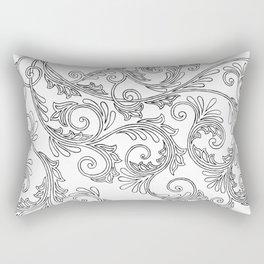 Black Floral Ornament Rectangular Pillow