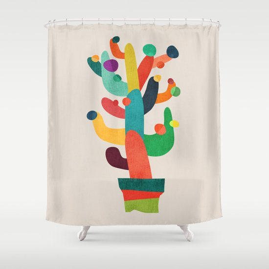 whimsical cactus shower curtain by picomodi society6. Black Bedroom Furniture Sets. Home Design Ideas