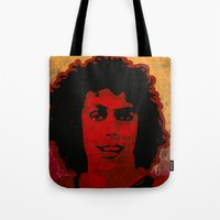 rocky horror Tote Bags featuring The Rocky Horror Picture Show by Rabassa