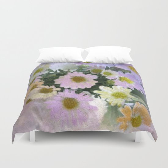 Painterly Spring Pastel Daisies Duvet Cover