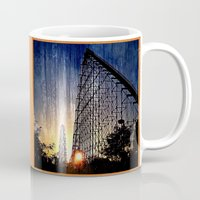 coasters Mugs featuring Mamba Roller Coaster at Sunset Grunge by The Eclectic Mind