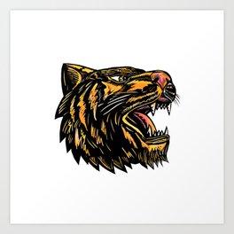 Growling Tiger Woodcut Art Print