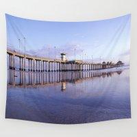 1984 Wall Tapestries featuring Huntington Beach Pier * 1984 by John Lyman Photos