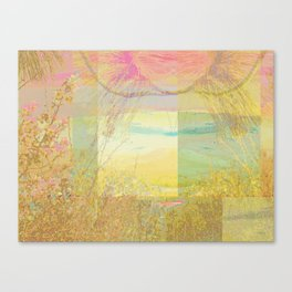 Blossoms Trees Pink Yellow Abstract Canvas Print