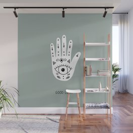 Good luck fortune teller hand hamsa magic universe green Wall Mural