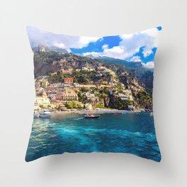 Coast line of Positano, Italy Throw Pillow
