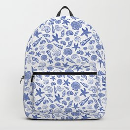 Blue Seashell Print Backpack