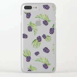 Hand painted black green watercolor fruity blackberries Clear iPhone Case