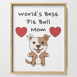 World's Best Pit Bull Mom   Cute Dog Mother Design Serving Tray