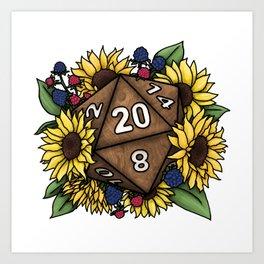 Sunflower D20 Tabletop RPG Gaming Dice Art Print