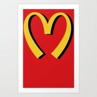 moschino Art Prints featuring McDonald's MOSCHINO by RickyRicardo787